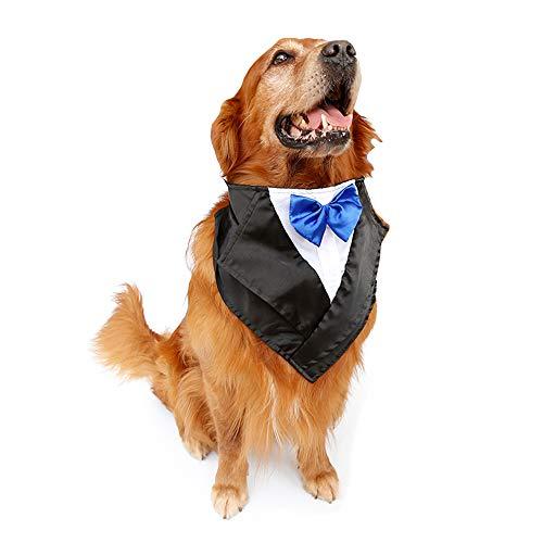 FLAdorepet Large Dog Tuxedo Costume Wedding Birthday Bandana Collar with Bow Tie and Neck Tie for Christmas Golden Retriever (Neck Size (22.5