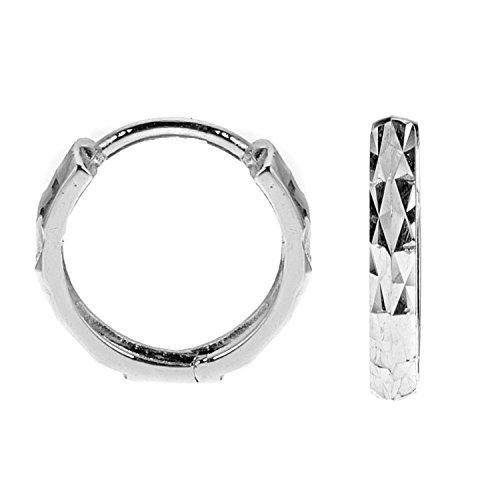 (14k Solid White Gold Shiny Diamond-Cut Huggies Earrings Hoops 2x12 Mm)