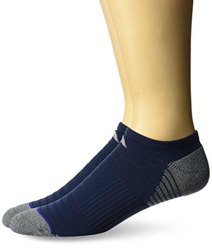 adidas Mens Superlite No Show Socks (2-pack),Collegiate Navy/Onix Light Onix Marl/Mystery Ink Blue/Light Onix/Eqt Yellow,Large