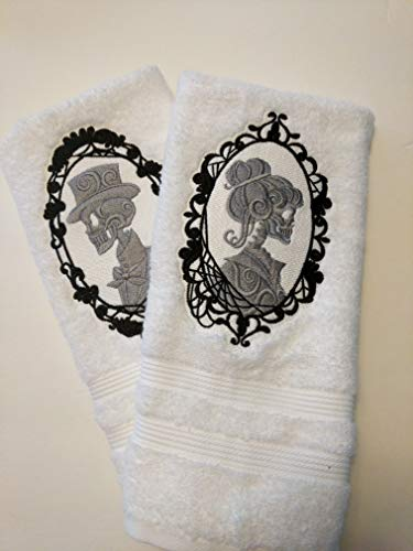 Cameo Towel - Mr. and Mrs Cameo Skeleton Bath Towels, Bride and Groom, Wedding Gift,