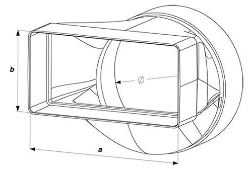 100 mm pour syst/ème d/évacuation flachkanal abluftrohr ventilateur encastr/é pour salle de bain awenta Adaptateur de raccord rond//carr/é 55 x 110 mm diam/ètre