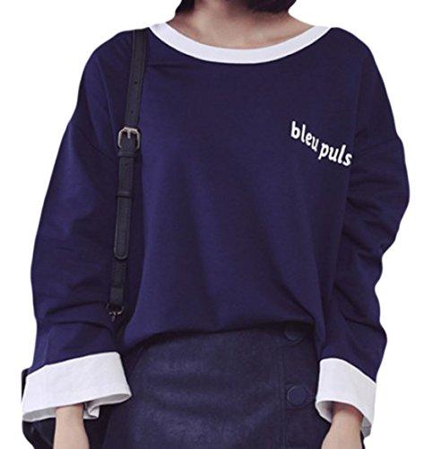 erdbeerloft - Camiseta de manga larga - Opaco - para mujer azul oscuro