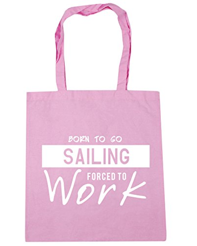 HippoWarehouse Born to Go Sailing Forced to Work Tote Shopping Gym Beach Bag 42cm x38cm, 10 litres Classic Pink
