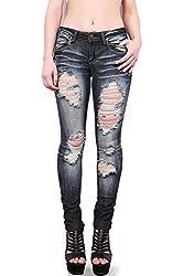 Pink Ice Women's Juniors Low Rise Distressed Machine Skinny Jeans Dark Denim 9