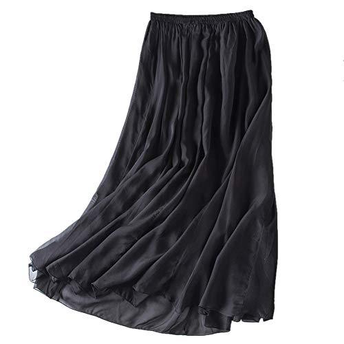 Mullsan Women Retro Vintage Double Layer Chiffon Pleat Maxi Long Skirt Dress (Black), One Size - Long Skirt Pleats Skirt