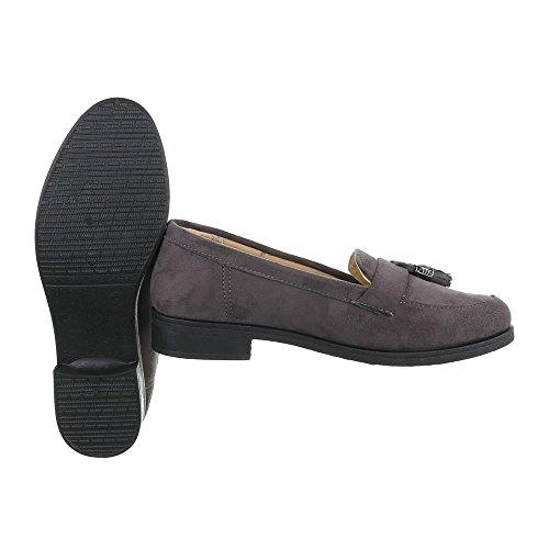 Ital-Design Slipper Damenschuhe Low-Top Keilabsatz/Wedge Blockabsatz Halbschuhe Grau