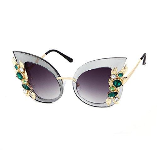 Fasiong women cat eye sunglasses flower Rhinestone Jewel Vintage Clout Goggles (Eye Cats Flower White)