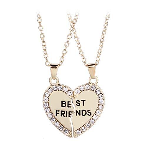 LOSOUL Best Friends Necklace for 2 BFF Broken Heart Necklace Rhinestone Best friends,Gold