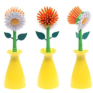 1Pcs Sun Flower Kitchen Cleaning Brush Pan Pot Brush Multi Bathroom Plastic Cleaning Tool Random Color