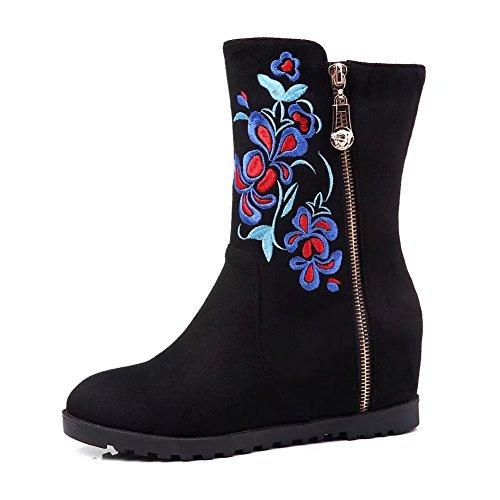 cremallera KingRover con negro en con de Botines mujeres de zapatos la con para cuña plataforma bordados tacones q7UwOpq0