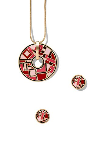 enamel-pierced-earrings-cut-out-circle-necklace-set-snake-chain-with-pendant-stud-light-pink-coral-b