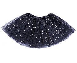 Jastore Girls Layered Stars Sequins Tutu Skirt Princess Ballet Dance Dress (Black)