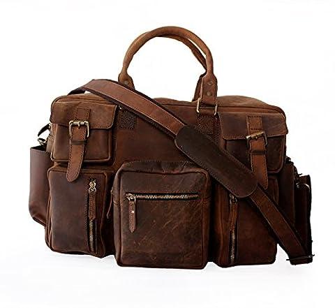 LUST Crazy Horse Leather Travel Shoulder bag, briefcase, travel laptop bag, multipocket messenger bag for men and women