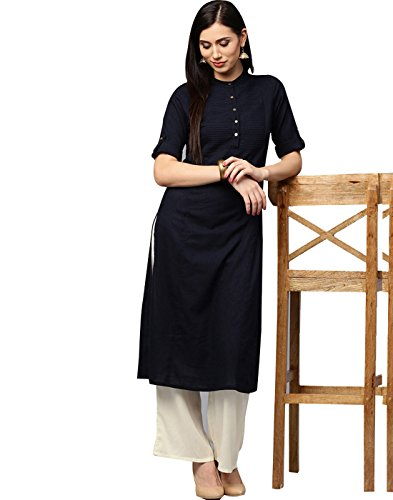 Jaipur Kurti Women's Cotton Navy Blue Kurta with Off-White Palazzo Set
