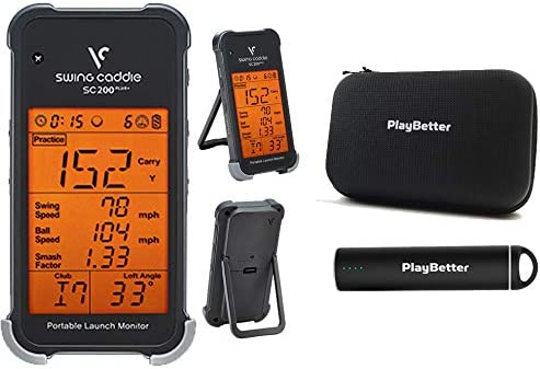 Swing Caddie SC200 Plus+ (2019 Model) Portable Golf Launch Monitor by Voice Caddie Power Bundle