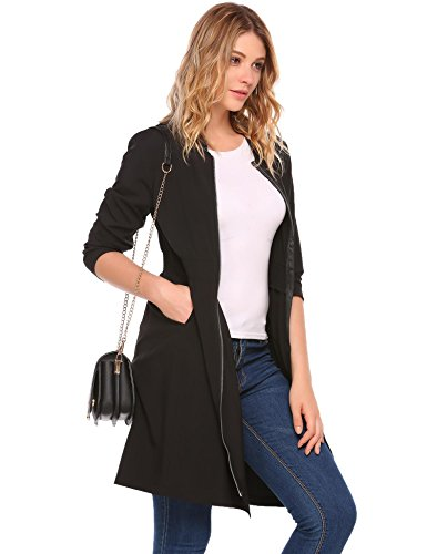 zeagoo 2XL Long Jacket for Women Long-Sleeves Pleated Trench Coats Fashion Cardigans (Zipper Trench)