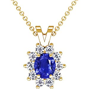 18K Yellow Gold Oval Cut Blue Sapphire And Round Diamond Pendant