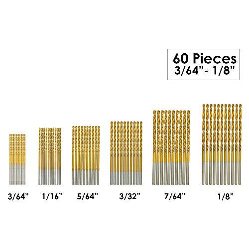 """amoolo Titanium Drill Bit Set (60 pcs), Premium 4341 HSS Micro Drill Bits for Wood, Metal, Steel, Plastic, Aluminum Alloy, 3/64""""-1/8"""""""