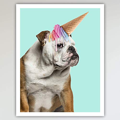 Baxter the Bulldog Unicorn Art Print Poster - Fun and Cute Dog & Ice Cream Unicorn Kid's Bedroom & Nursery Wall Decor - This Loveable Art Print Poster Measures 11x14 inches, Unframed