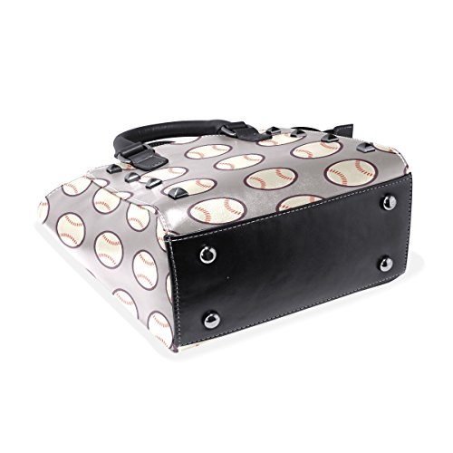 Leather Handle TIZORAX PU Sports Handbags Bags Top Women's Baseball Shoulder aFT0nqfTX