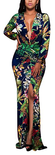sexycherry Women Deep V-Neck Elegant Long Sleeves Sexy Flower Floral Cocktail Maxi Party Dress(XX-Large, Flower) ()