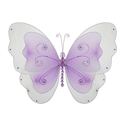 (The Butterfly Grove Sasha Butterfly Decoration 3D Hanging Mesh Nylon Layered Decor, Purple Wisteria, Small, 5