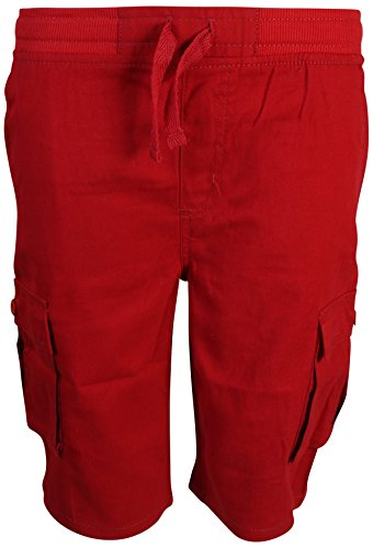Kids Baggies Shorts - Quad Seven Boys Pull-on Twill Cargo Shorts, Red, Size 10'