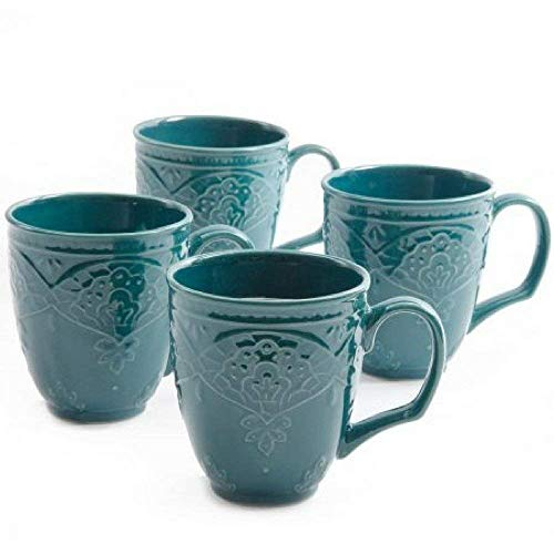 Charming 'Antique Style' Farmhouse Lace Mug Set (OCEAN TEAL)