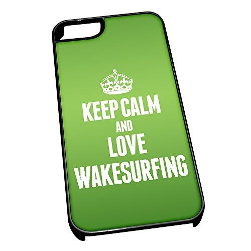 Nero cover per iPhone 5/5S 1950verde Keep Calm and Love Wakesurfing