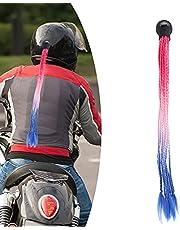 Rabo de cavalo de capacete, aparência atraente, conveniente para colar, difícil de cair, decoração de cabelo para capacete ao ar livre para capacete de motocicleta (vermelho, rosa azul)
