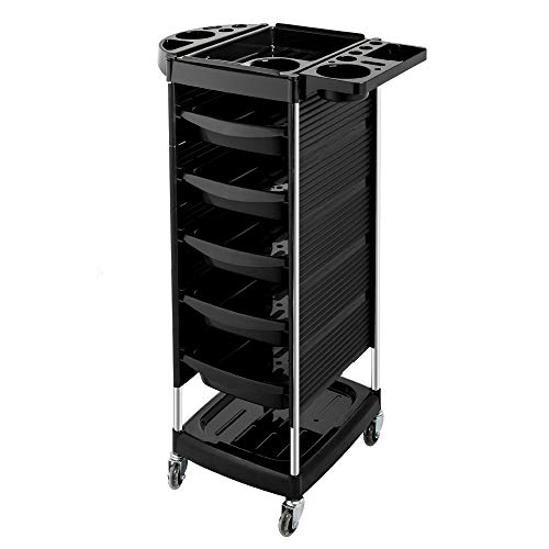 Mefeir Salon Trolley Cart with 5 ABS Drawers & Rolling Wheels for Stylist Hairdresser, Beauty Furniture Hair Styling Storage Station Color Tray Holder