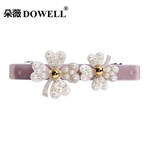 usongs Wei acetate sheet flowers imported high-grade pearl tiara sweet petals spring clip rhinestone hair accessories 5 ()