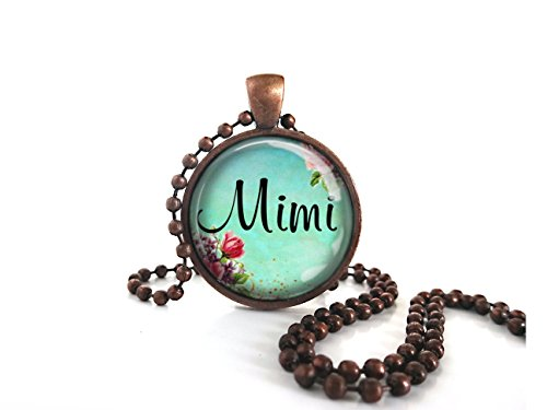 Mimi Victorian Turquoise Roses Round Glass Dome Antique Copper Necklace W/ball ()
