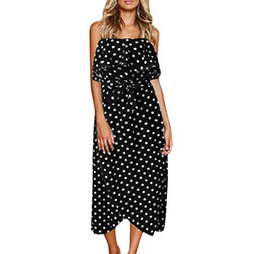 Sunhusing Women's Wavy Polka Dot Print Sexy Off-Shoulder Sleeveless Ruffled Belted Lace-Up Bodycon Long Dress Black ()