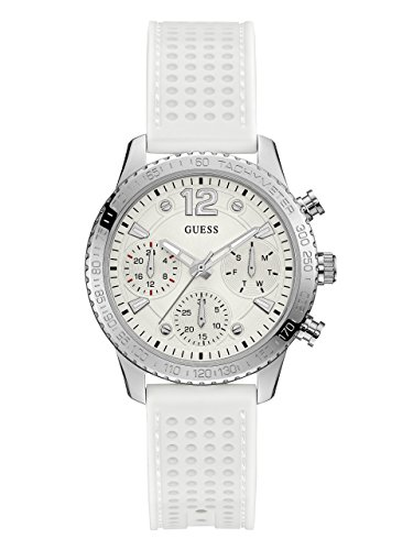 GUESS Women's Stainless Steel Multifunction Silicone Casual Watch, Color: White (Model: - Wrist Guess Watch