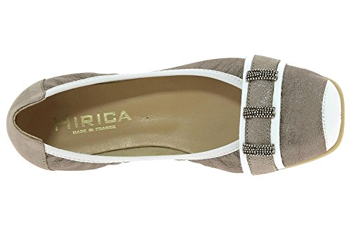 Hirica, Damen Ballerinas EFFIE Bronze weiss grosse 38