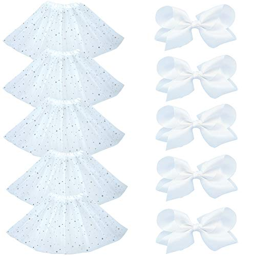 Bingoshine BGFKS 5 Pack Tutu Skirt for Girl Ballet Dance Costume Dress Up Girl Tutus (Star-White)