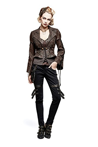 per per per lunga misure donne Pantalone Giacca rimovibile SHACKLES Coat le le le le Gothic Suit DEVIL 4 Steampunk Giacca Colletto HPfwnZz