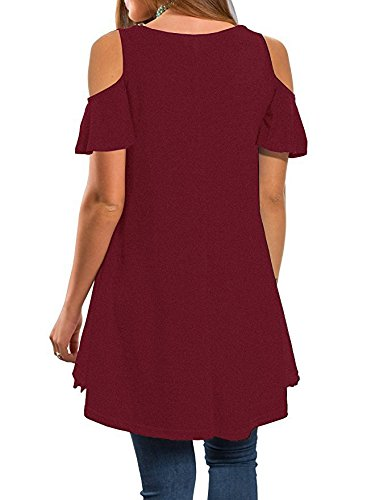 Red Sleeve Off Loose Tunic Women's Shirt Lace Summer Casual Dress Short Blouse SYGoodBUY Shoulder Chic T Wine nAxYH