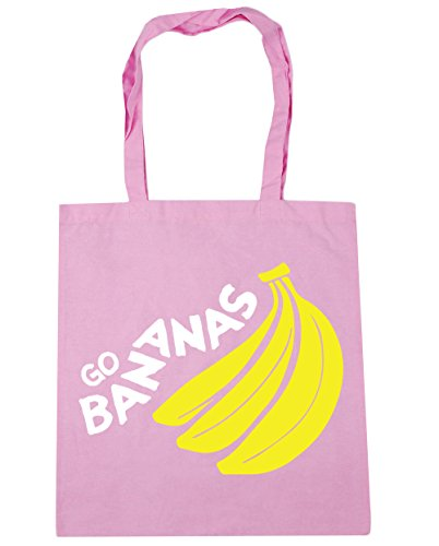HippoWarehouse Go Bananas Tote Shopping Gym Beach Bag 42cm x38cm, 10 litres Classic Pink