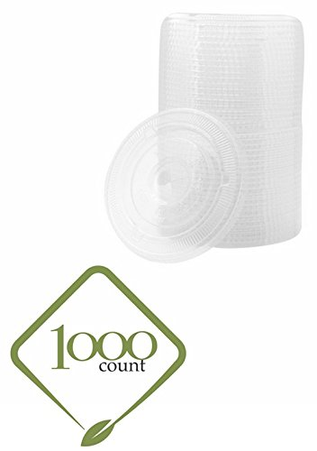 [1000 LIDS] Plastic Disposable Lids for Premium 12 oz (ounces) Crystal Clear PET Cups for Cold Drinks Iced Coffee Tea Juices Smoothies Slush Soda Cocktails Beer Kids Safe