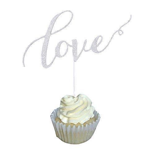 Aisila Pack of 20 Glitter Paper Love Wedding Cupcake Topper Silver (Love 1)