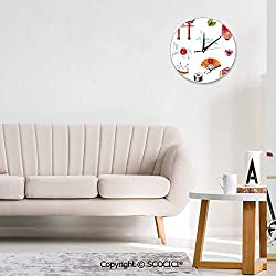SCOCICI Round Wall Clock, Hand Drawn Traditional Elements Watercolors Torii Gate Art Wall Clocks Battery Operated Non Ticking Silent Wall Clock Decorative for Living Room Decor Kitchen Kids 10 inch