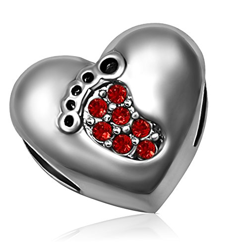 KunBead Family Love Baby Footprint Heart Birthstone July Red Charm Bead for - Charm July