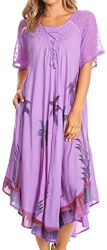 Sakkas 14610New - Kai Palm Tree Caftan Tank Dress/Cover Up - Lavender - OS