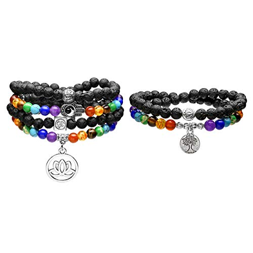 Jovivi 2pcs 108 Mala Prayer Beads Tree of Life Natural Lava Rock Stone Essential Oil Diffuser Bracelet Necklace & Lotus 7 Chakra Healing Crystals Yoga Meditation Stretch ()
