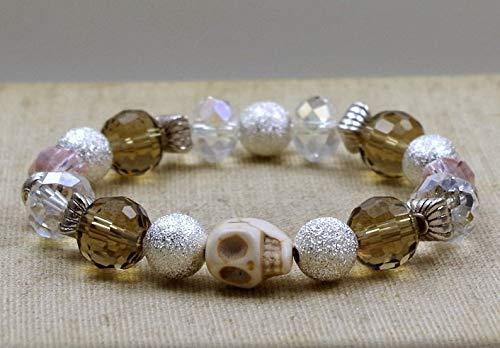 klar Funkelndes Armband mit Glasperlen /& Totenkopf rosa grau silber SKULL//Glasperlenarmband