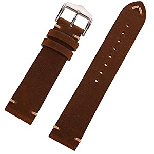 EACHE 20mm 22mm Genuine Leather Watch Band Crazy Horse/Oil Wax Leather Replacement Straps