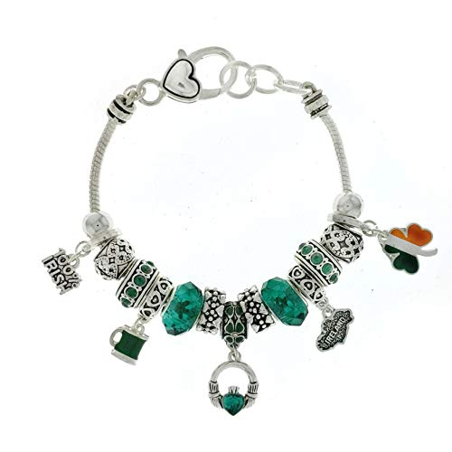 Jucicle Irish Theme Green Faceted Bead Charm Bracelet (Silver Tone)]()