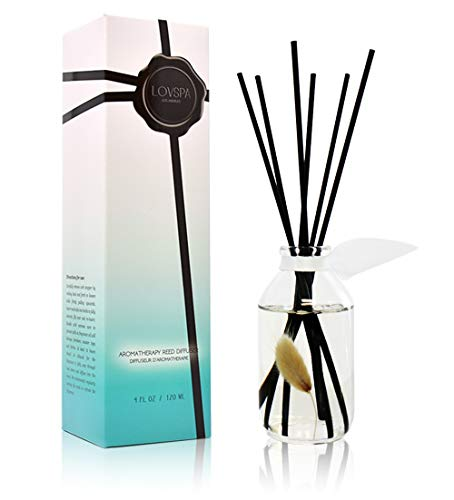 (LOVSPA Clean Cotton Blossom Essential Oil Reed Sticks Diffuser Set | Airy Green Floral with Powdery Woods, Sun Dried Linen & Mandarin Blossom)